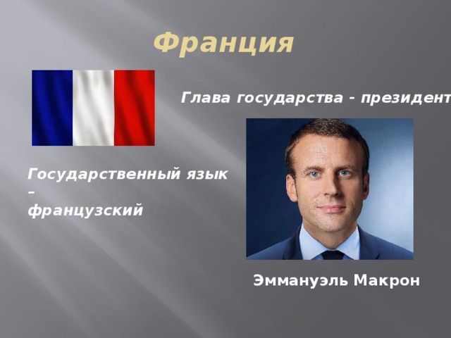 Франция Глава государства - президент Государственный язык – французский Эммануэль  Макрон