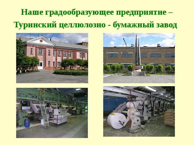 Наше градообразующее предприятие –Туринский целлюлозно - бумажный завод