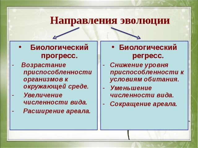 Направления эволюции Биологический прогресс. Биологический регресс. - Возрастание приспособленности организмов к окружающей среде.