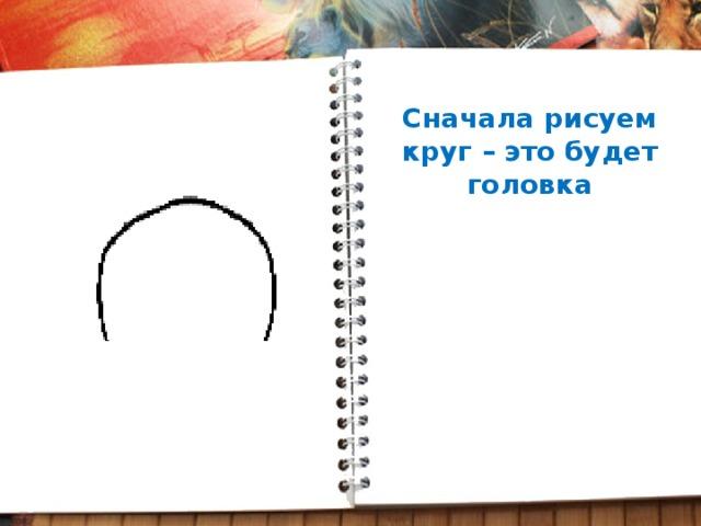 Сначала рисуем круг – это будет головка