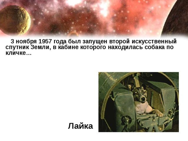 3 ноября 1957 года был запущен второй искусственный спутник Земли, в кабине которого находилась собака по кличке… Лайка