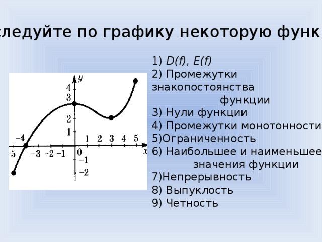 1) D(f), E(f) 2) Промежутки знакопостоянства  функции 3) Нули функции 4) Промежутки монотонности 5)Ограниченность 6) Наибольшее и наименьшее  значения функции 7)Непрерывность 8) Выпуклость 9) Четность Исследуйте по графику некоторую функцию