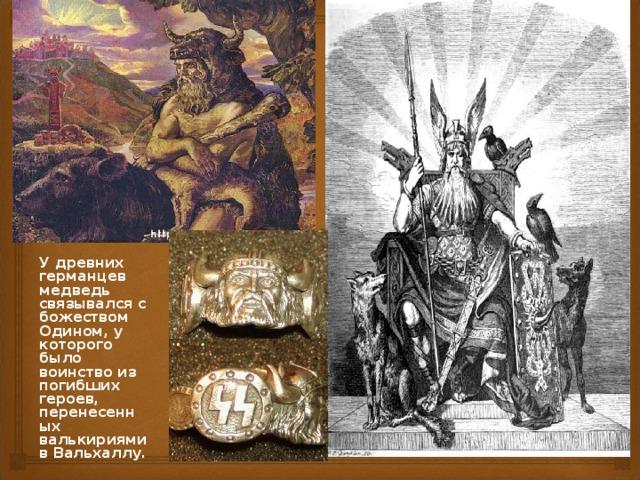 У древних германцев медведь связывался с божеством Одином, у которого было воинство из погибших героев, перенесенных валькириями в Вальхаллу.