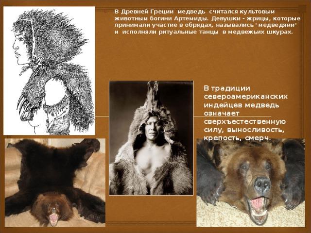 В Древней Греции медведь считался культовым животным богини Артемиды. Девушки - жрицы, которые принимали участие в обрядах, назывались