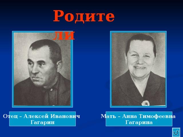 Родители Отец – Алексей Иванович Гагарин Мать – Анна Тимофеевна Гагарина