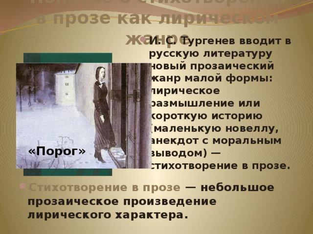 Понятие о стихотворении в прозе как лирическом жанре И. С. Тургенев вводит в русскую литературу новый прозаический жанр малой формы: лирическое размышление или короткую историю (маленькую новеллу, анекдот с моральным выводом) — стихотворение в прозе. «Порог»