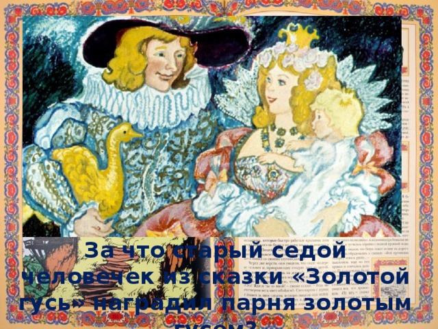 За что старый седой человечек из сказки «Золотой гусь» наградил парня золотым гусем?