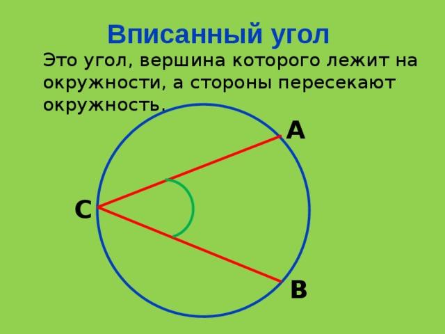 Вписанный угол Это угол, вершина которого лежит на окружности, а стороны пересекают окружность. А С В