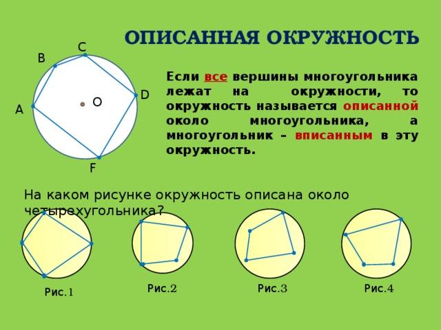 ОПИСАННАЯ ОКРУЖНОСТЬ С В Если все вершины многоугольника лежат на окружности, то окружность называется описанной около многоугольника, а многоугольник – вписанным в эту окружность. D О А F На каком рисунке окружность описана около четырехугольника? Рис. 3 Рис. 4 Рис. 2 Рис. 1