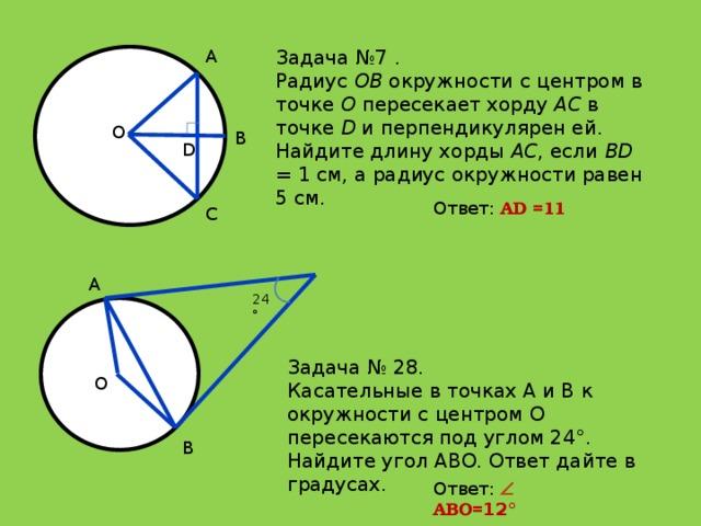 Задача №7 . A Радиус OB окружности с центром в точке O пересекает хорду AC в точке D и перпендикулярен ей. Найдите длину хорды AC , если BD = 1 см, а радиус окружности равен 5 см. O B D Ответ: АD =11 C A 24° Задача № 28. Касательные в точках A и B к окружности с центром O пересекаются под углом 24°. Найдите угол ABO. Ответ дайте в градусах. O B Ответ:   АВО= 12°