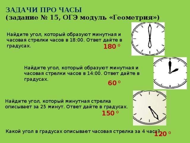ЗАДАЧИ ПРО ЧАСЫ (задание № 15, ОГЭ модуль «Геометрия») Найдите угол, который образуют минутная и часовая стрелки часов в 18:00. Ответ дайте в градусах. 180 0 Найдите угол, который образуют минутная и часовая стрелки часов в 14:00. Ответ дайте в градусах. 60 0 Найдите угол, который минутная стрелка описывает за 25 минут. Ответ дайте в градусах. 150 0 Какой угол в градусах описывает часовая стрелка за 4 часа? 120 0