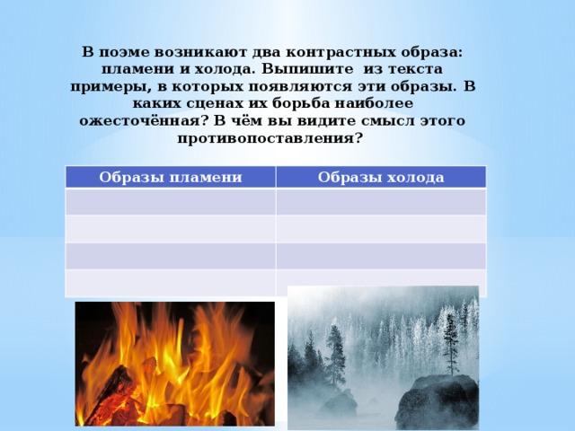 В поэме возникают два контрастных образа: пламени и холода. Выпишите из текста примеры, в которых появляются эти образы. В каких сценах их борьба наиболее ожесточённая? В чём вы видите смысл этого противопоставления? Образы пламени Образы холода