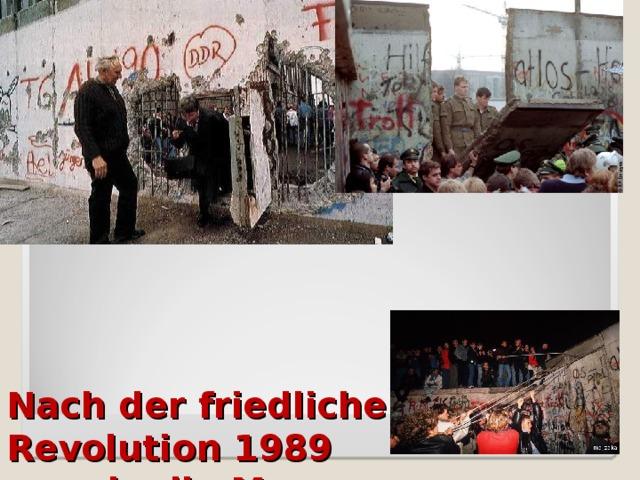 Nach der friedlichen Revolution 1989  wurde die Mauer  eröffnet und dann abgetragen.