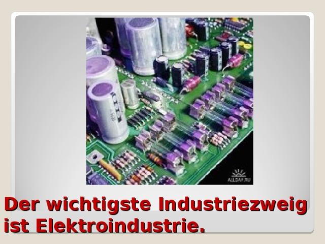 Der wichtigste Industriezweig ist Elektroindustrie.