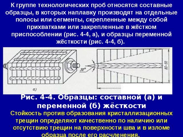 К группе технологических проб относятся составные образцы, в которых наплавку производят на отдельные полосы или сегменты, скрепленные между собой прихватками или закрепленные в жёстком приспособлении (рис. 4-4, а), и образцы переменной жёсткости (рис. 4-4, б). Рис. 4-4. Образцы: составной (а) и переменной (б) жёсткости Стойкость против образования кристаллизационных трещин определяют качественно по наличию или отсутствию трещин на поверхности шва и в изломе образца после его расчленения.