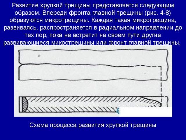 Развитие хрупкой трещины представляется следующим образом. Впереди фронта главной трещины (рис. 4-8) образуются микротрещины. Каждая такая микротрещина, развиваясь, распространяется в радиальном направлении до тех пор, пока не встретит на своем пути другие развивающиеся микротрещины или фронт главной трещины. Схема процесса развития хрупкой трещины