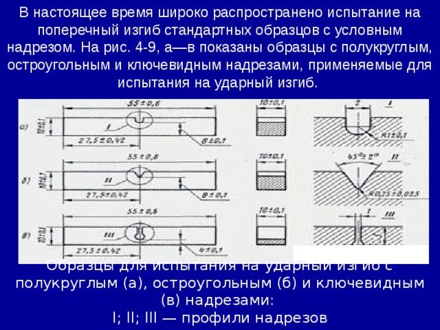 В настоящее время широко распространено испытание на поперечный изгиб стандартных образцов с условным надрезом. На рис. 4-9, а—в показаны образцы с полукруглым, остроугольным и ключевидным надрезами, применяемые для испытания на ударный изгиб. Образцы для испытания на ударный изгиб с полукруглым (а), остроугольным (б) и ключевидным (в) надрезами: I; II; III — профили надрезов