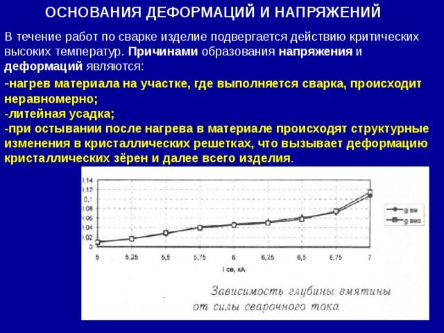 ОСНОВАНИЯ ДЕФОРМАЦИЙ И НАПРЯЖЕНИЙ В течение работ по сварке изделие подвергается действию критических высоких температур. Причинами образования напряжения и деформаций являются: - нагрев материала на участке, где выполняется сварка, происходит неравномерно; -литейная усадка; -при остывании после нагрева в материале происходят структурные изменения в кристаллических решетках, что вызывает деформацию кристаллических зёрен и далее всего изделия .