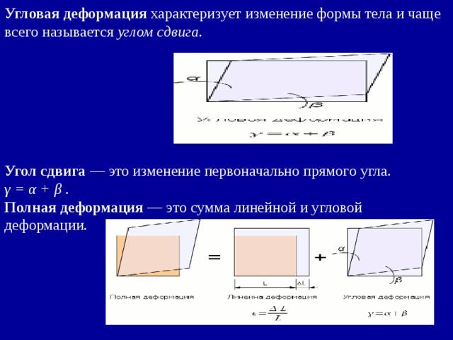 Угловая деформация характеризует изменение формы тела и чаще всего называется углом сдвига .    Угол сдвига — это изменение первоначально прямого угла. γ = α + β . Полная деформация — это сумма линейной и угловой деформации.