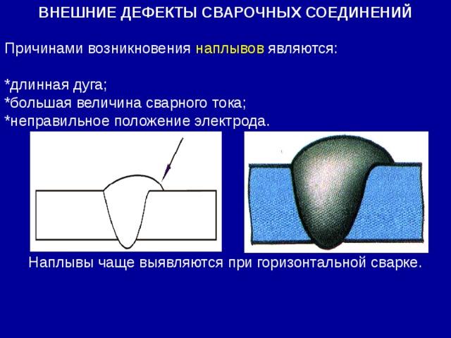 Причинами возникновения наплывов являются: *длинная дуга; *большая величина сварного тока; *неправильное положение электрода. ВНЕШНИЕ ДЕФЕКТЫ СВАРОЧНЫХ СОЕДИНЕНИЙ Наплывы чаще выявляются при горизонтальной сварке.