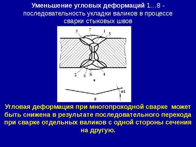 Уменьшение угловых деформаций 1…8 - последовательность укладки валиков в процессе сварки  стыковых швов Угловая деформация при многопроходной сварке может быть снижена в результате последовательного перехода при сварке отдельных валиков с одной стороны сечения на другую.