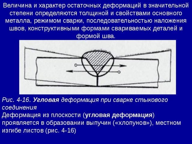 Величина и характер остаточных деформаций в значительной степени определяются толщиной и свойствами основного металла, режимом сварки, последовательностью наложения швов, конструктивными формами свариваемых деталей и формой шва. Рис. 4-16. Угловая деформация при сварке стыкового соединения Деформация из плоскости ( угловая деформация ) проявляется в образовании выпучин («хлопунов»), местном изгибе листов (рис. 4-16)