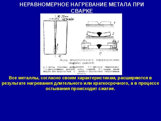 НЕРАВНОМЕРНОЕ НАГРЕВАНИЕ МЕТАЛА ПРИ СВАРКЕ Все металлы, согласно своим характеристикам, расширяются в результате нагревания длительного или краткосрочного, а в процессе остывания происходит сжатие.