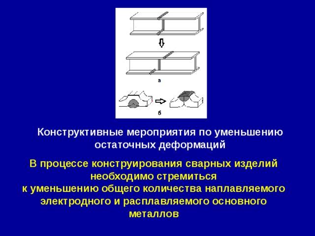 Конструктивные мероприятия по уменьшению остаточных деформаций В процессе конструирования сварных изделий необходимо стремиться к уменьшению общего количества наплавляемого электродного и расплавляемого основного металлов