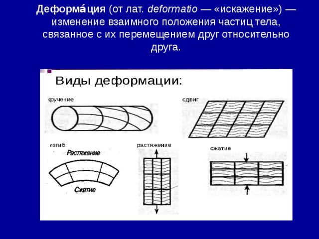 Деформа́ция (отлат. deformatio — «искажение»)— изменение взаимного положения частиц тела, связанное с ихперемещениемдруг относительно друга.