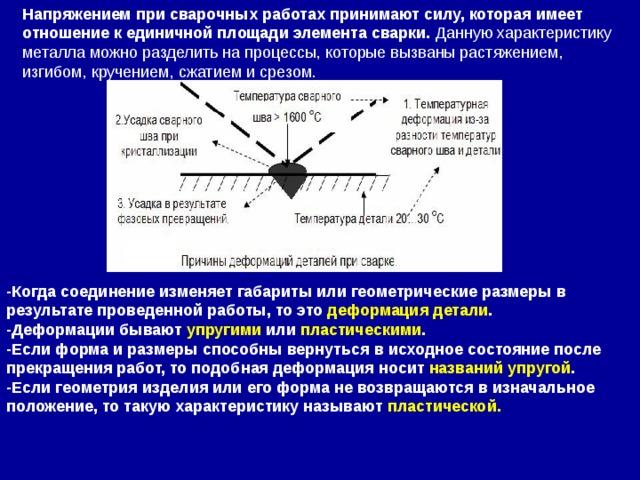 Напряжением при сварочных работах принимают силу, которая имеет отношение к единичной площади элемента сварки. Данную характеристику металла можно разделить на процессы, которые вызваны растяжением, изгибом, кручением, сжатием и срезом. -Когда соединение изменяет габариты или геометрические размеры в результате проведенной работы, то это деформация детали . -Деформации бывают упругими или пластическими . -Если форма и размеры способны вернуться в исходное состояние после прекращения работ, то подобная деформация носит названий упругой . -Если геометрия изделия или его форма не возвращаются в изначальное положение, то такую характеристику называют пластической.