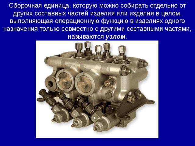 Сборочная единица, которую можно собирать отдельно от других составных частей изделия или изделия в целом, выполняющая операционную функцию в изделиях одного назначения только совместно с другими составными частями, называются узлом .