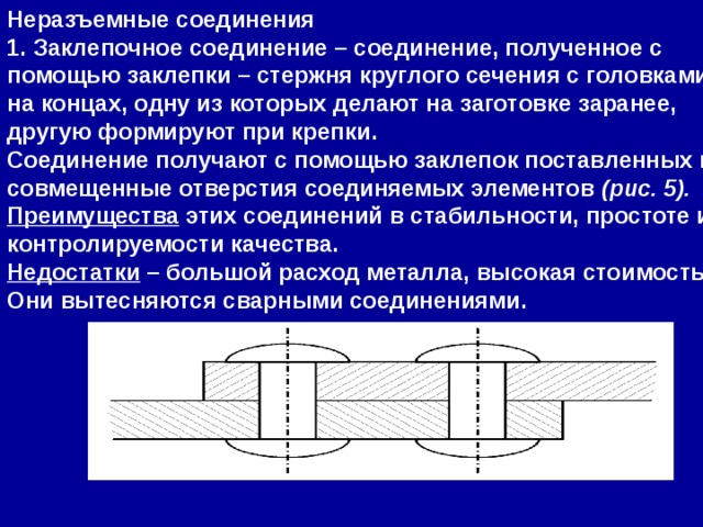 Неразъемные соединения 1.Заклепочное соединение– соединение, полученное с помощью заклепки – стержня круглого сечения с головками на концах, одну из которых делают на заготовке заранее, другую формируют при крепки. Соединение получают с помощью заклепок поставленных в совмещенные отверстия соединяемых элементов (рис. 5). Преимущества этих соединений в стабильности, простоте и контролируемости качества. Недостатки – большой расход металла, высокая стоимость. Они вытесняются сварными соединениями.