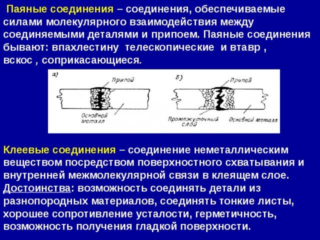 Паяные соединения – соединения, обеспечиваемые силами молекулярного взаимодействия между соединяемыми деталями и припоем. Паяные соединения бывают: впахлестинутелескопическиеи втавр, вскос , соприкасающиеся .       Клеевые соединения – соединение неметаллическим веществом посредством поверхностного схватывания и внутренней межмолекулярной связи в клеящем слое. Достоинства : возможность соединять детали из разнопородных материалов, соединять тонкие листы, хорошее сопротивление усталости, герметичность, возможность получения гладкой поверхности.