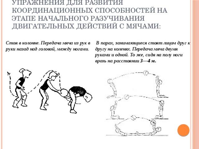 упражнения для развития координационных способностей на этапе начального разучивания двигательных действий с мячами: Стоя в колонне. Передача мяча из рук в руки назад над головой, между ногами .  В парах, занимающиеся стоят лицом друг к другу на коленях. Передача мяча двумя руками и одной. То же, сидя на полу ноги врозь на расстоянии 3—4 м .