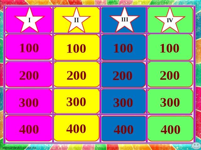 III I IV II 100 100 100 100 200 200 200 200 300 300 300 300 400 400 400 400