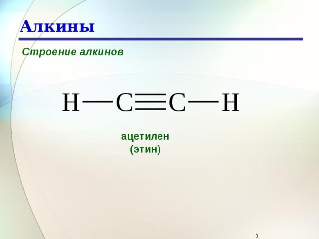 Алкины Строение алкинов ацетилен (этин)