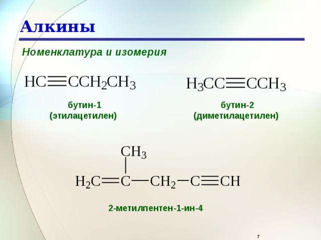 Алкины Номенклатура и изомерия бутин-1 бутин-2 (диметилацетилен)  (этилацетилен)  2-метилпентен-1-ин-4