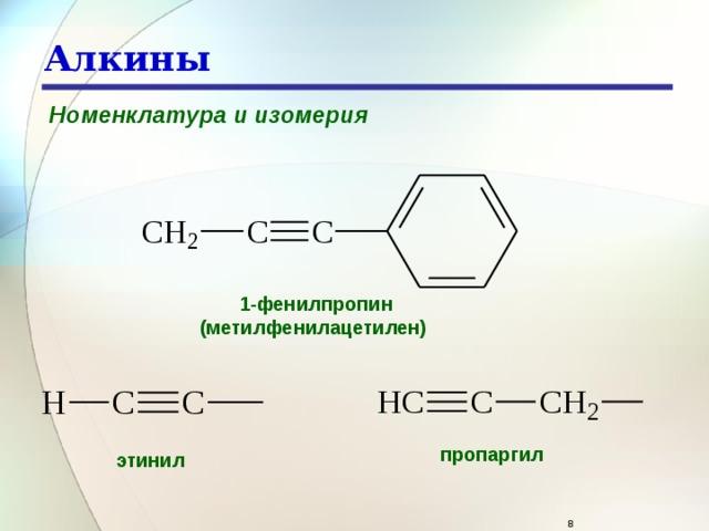 Алкины Номенклатура и изомерия 1-фенилпропин (метилфенилацетилен)  пропаргил  этинил