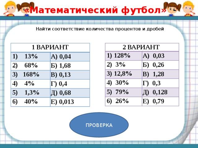 «Математический футбол» -    Найти соответствие количества процентов и дробей   1 ВАРИАНТ 2 ВАРИАНТ 1) 128% 1) 13% А) 0,03 А) 0,04 2) 68% 2) 3% 3) 168% 3) 12,8% Б) 0,26 Б) 1,68 В) 1,28 В) 0,13 4) 30% 4) 4% 5) 1,3% Г) 0,4 Г) 0,3 5) 79% Д) 0,68 Д) 0,128 6) 40% 6) 26% Е) 0,013 Е) 0,79 ПРОВЕРКА