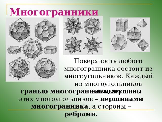 Многогранники Поверхность любого многогранника состоит из многоугольников. Каждый из многоугольников называют гранью многогранника , вершины этих многоугольников – вершинами многогранника , а стороны – ребрами .
