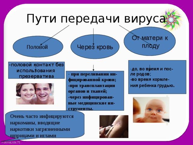 Пути передачи вируса От матери к  плоду Через кровь Половой - до, во время и пос- ле родов; -во время кормле- ния ребенка грудью . -половой контакт без использования презерватива - при переливании ин- фицированной крови; -при трансплантации органов и тканей; -через инфицирован- ные медицинские ин- струменты. Очень часто инфицируются наркоманы, вводящие наркотики загрязненными шприцами и иглами