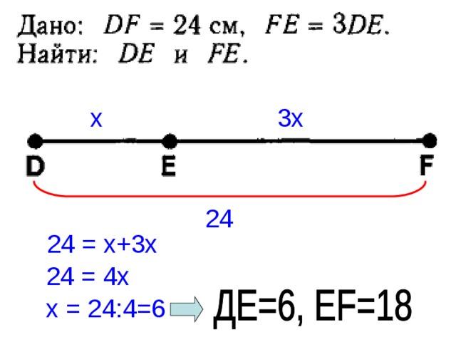 х 3х 24 24 = х+3х 24 = 4х х = 24:4=6