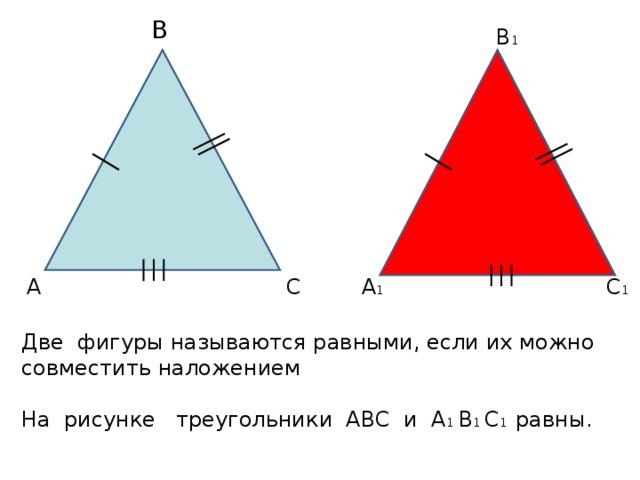 В В 1 С 1 А 1 С А Две фигуры называются равными, если их можно совместить наложением На рисунке треугольники АВС и А 1 В 1 С 1 равны.