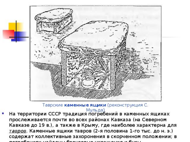 Таврские каменные  ящики (реконструкция С. Мульда)