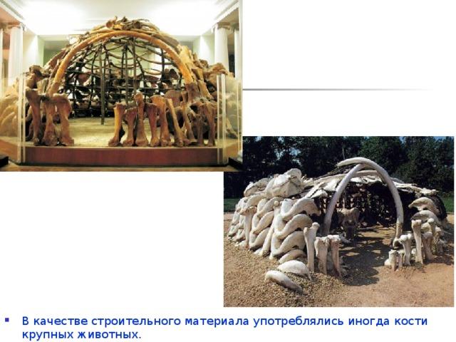 В качестве строительного материала употреблялись иногда кости крупных животных.