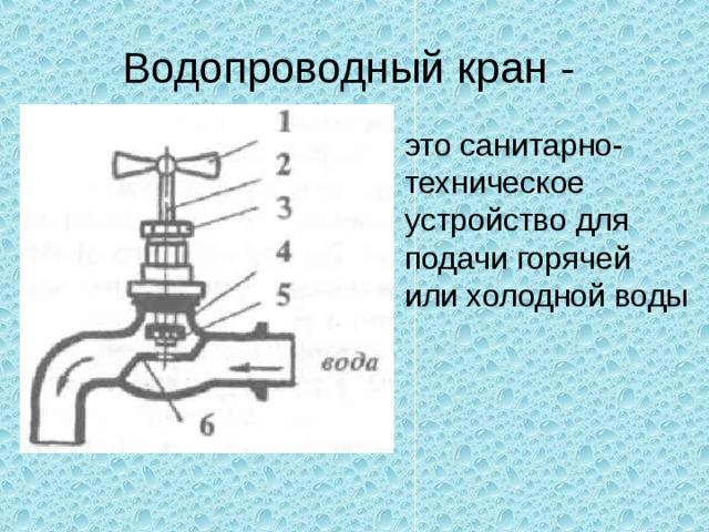 Водопроводный кран - это санитарно- техническое устройство для подачи горячей или холодной воды