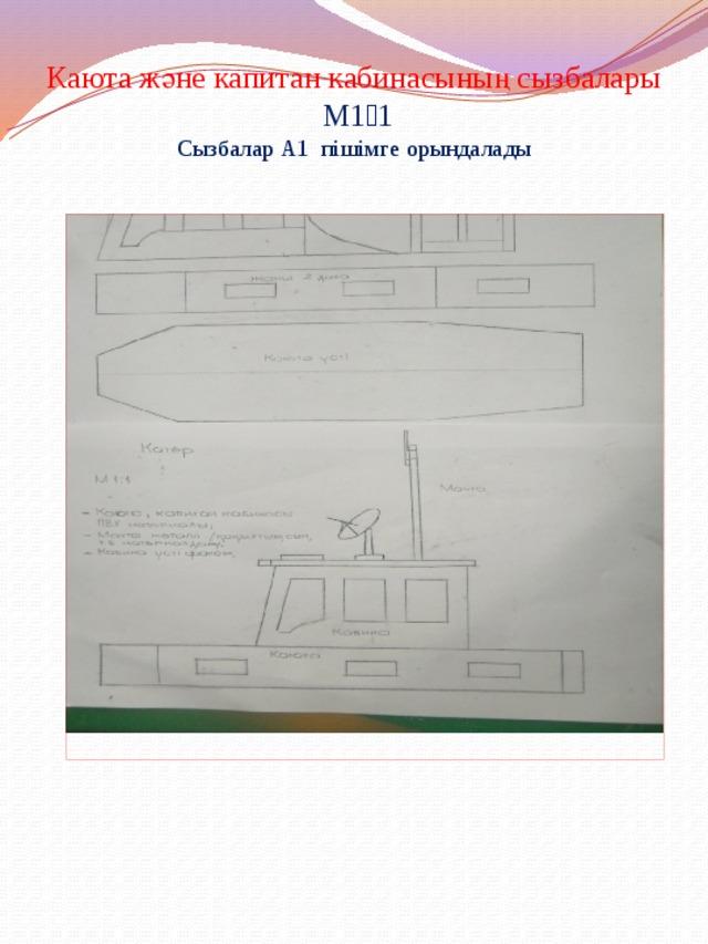 Каюта және капитан кабинасының сызбалары М1։1 Сызбалар А1 пішімге орындалады