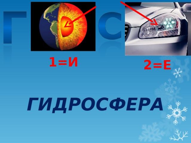 1=И 2=Е ГИДРОСФЕРА
