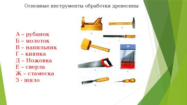 Основные инструменты обработки древесины А – рубанок Б – молоток В – напильник Г – киянка Д – Ножовка Е – сверла Ж – стамеска З - шило