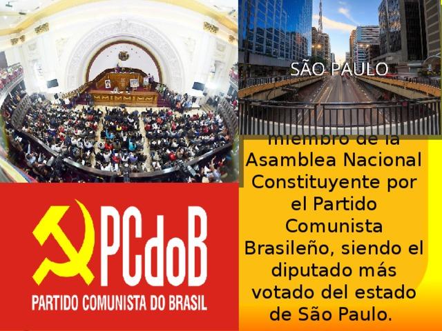 En 1945 fue electo miembro de la Asamblea Nacional Constituyente por el Partido Comunista Brasileño, siendo el diputado más votado del estado de São Paulo.